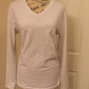 Zara Slim Fit Longsleeve White V-Neck Large L